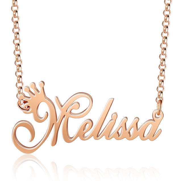 Custom Name Necklace Personalized Crown Name Necklace
