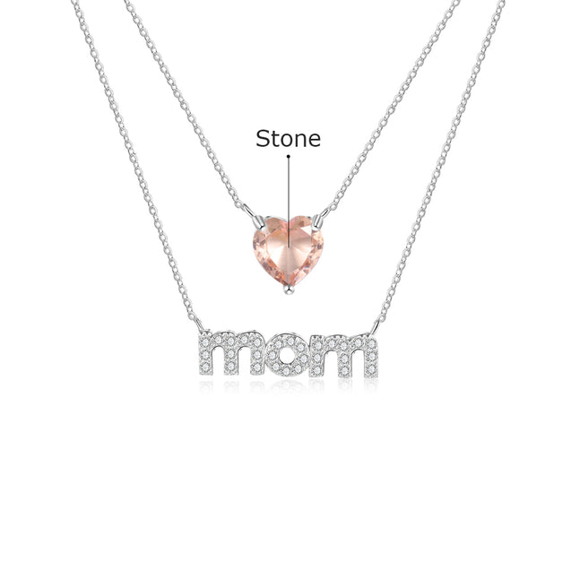 Love Mom Heart Necklace Personalized Layered Necklace with Birthstone Unique Gift Mother's Day