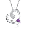 Heart Birthstone Necklace Love Necklace 1 Stone Engraved Name Personalized Pendant