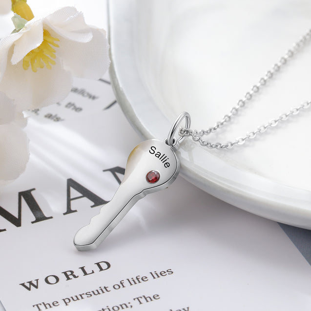 Key To Heart Pendant Necklace With 2 Birthstones Heart Key Matching Necklace Set For Couple's