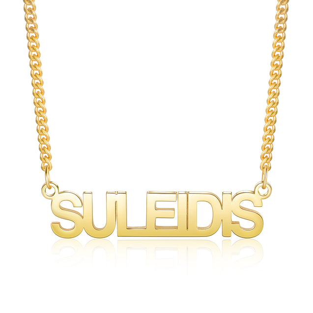 Men Custom Name Necklace Capital Letters Personalized Name Chain 14K Gold Pated