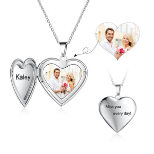 Heart Photo Locket with Engraving Heart Pendant Personalized Gift