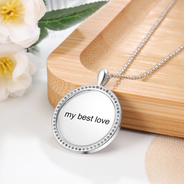 Photo Engraved Necklace Crystal Square Shape Pendant Personalized Necklace Sterling Silver