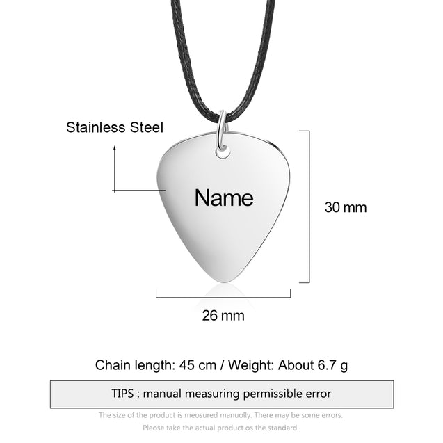Personalized Guitar Pick Necklace Men Custom Necklace Gift For Him