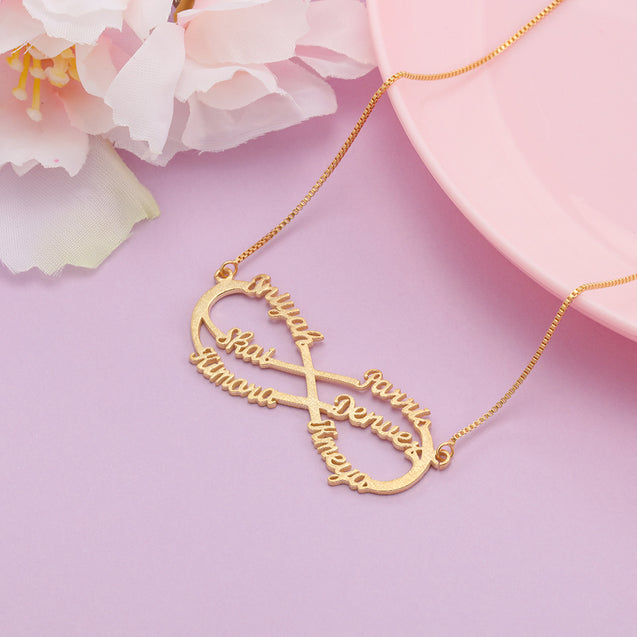 Sparkling Name Necklace Custom 5 Names Infinity Necklace in Gold Shinning Name Chain