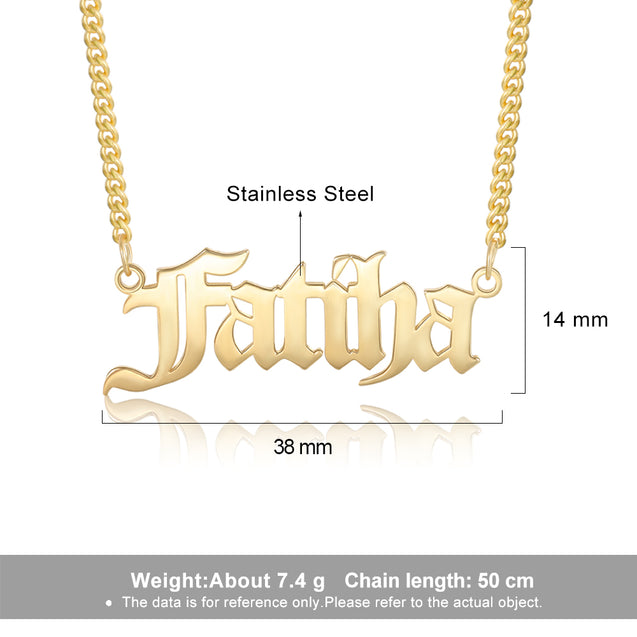 Men Custom Name Necklace Personalized Old English Name Chain 14K Gold Pated
