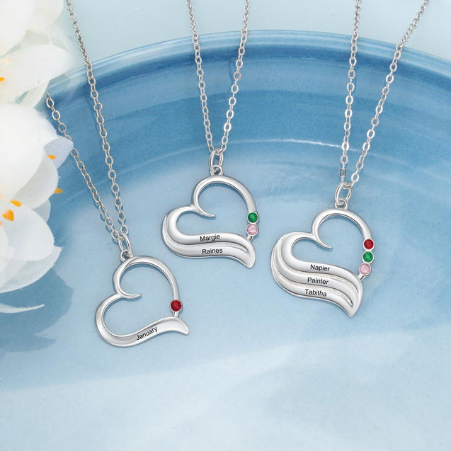 Heart Pendant Necklace with 3 Birthstones Engraved 3 Names