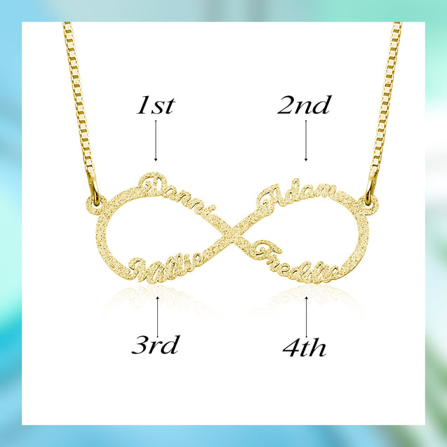 Sparkling Name Necklace Infinity Necklace Custom 4 Names Shinning Name Chain
