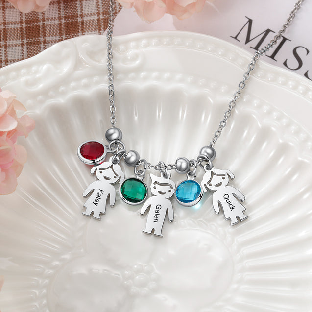 Mother Necklace with Children Charm Engraved 1 Name