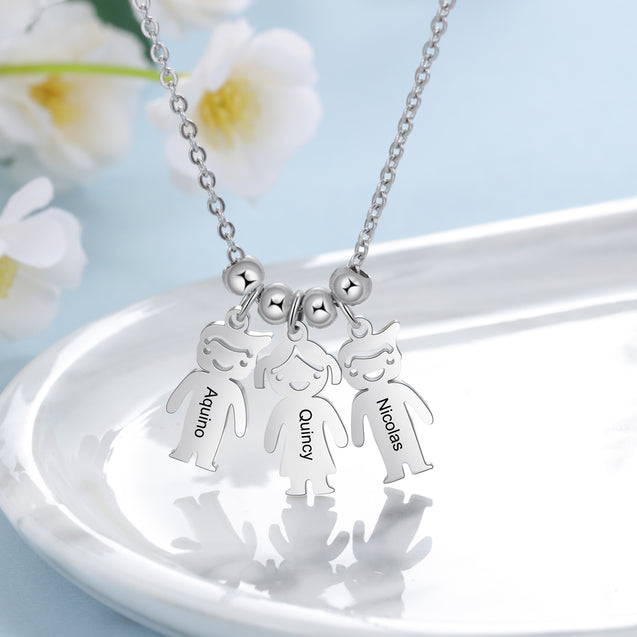 Mother Necklace with Children Charms Engraved 1 Name