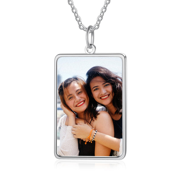 Custom Photo Necklace Square Shape Pendant with Engraving Personalized Gift