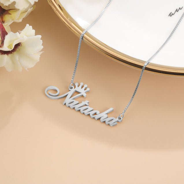Sparking Name Necklace Personalized Crown Name Necklace