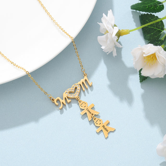 Mom Necklace with 2 Children Charms Engraved 2 Name