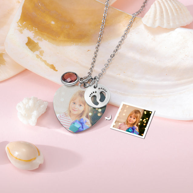 Custom Photo Necklace Heart Pendant With 1 Birthstone Personalized Gift