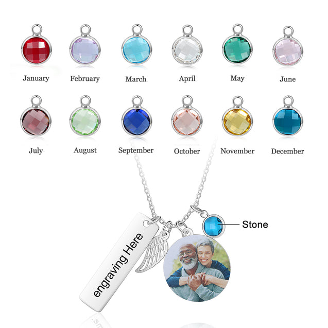Personaized Photo Necklace With Angel Wing Custom Birthstone Necklace