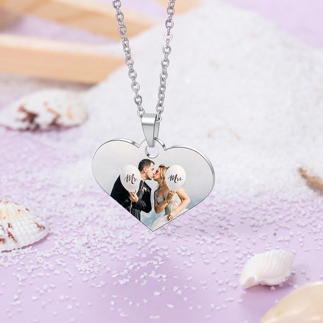 Personalized Photo Necklace Heart Pendant with Engraving Gift For Her