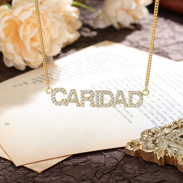 Sparking Name Necklace Personalized With Cubic Zirconia Crystal Name Necklace