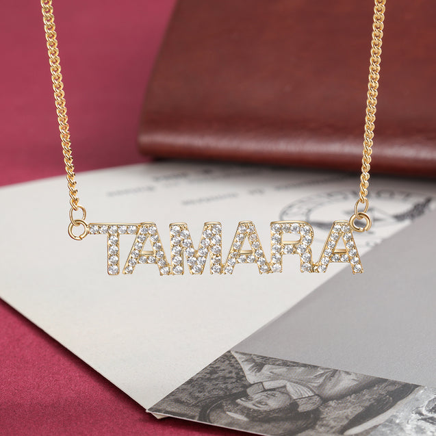 Sparking Name Necklace Personalized With Cubic Zirconia Crystal Name Necklace in Gold