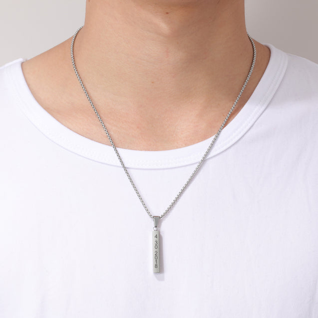 Men Vertical Bar Necklace Personalized 3D Bar Necklace in Silver