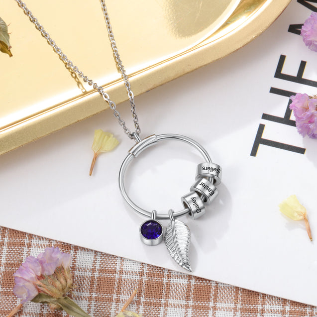 Circle Pendant Necklace With Leave Charms Engraved 1-5 Names