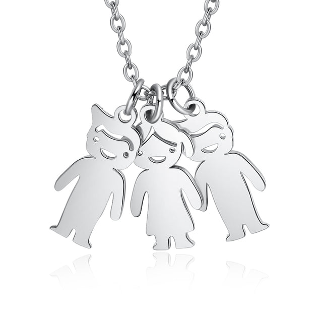 Mother Necklace with 3 Children Charms Engraved 3 Names