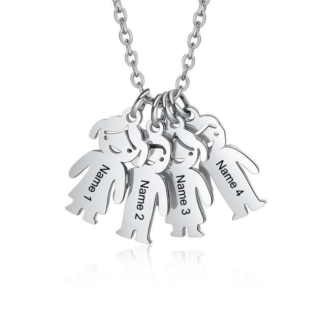 Mother Necklace with 4 Children Charms Engraved 4 Names