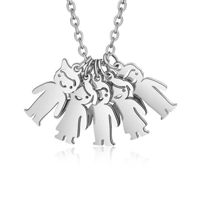 Mother Necklace with 5 Children Charms Engraved 5 Names