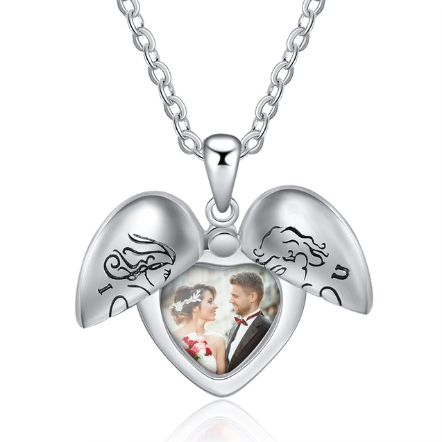 Heart Pendant Photo Locket Necklace I Love You Personalized Gift For Lover