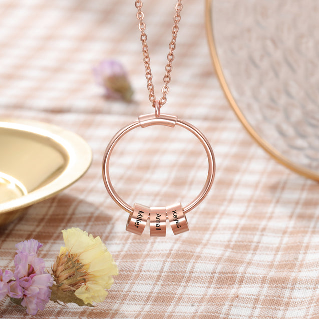 Circle Pendant Necklace With Charms Engraved 1-5 Names