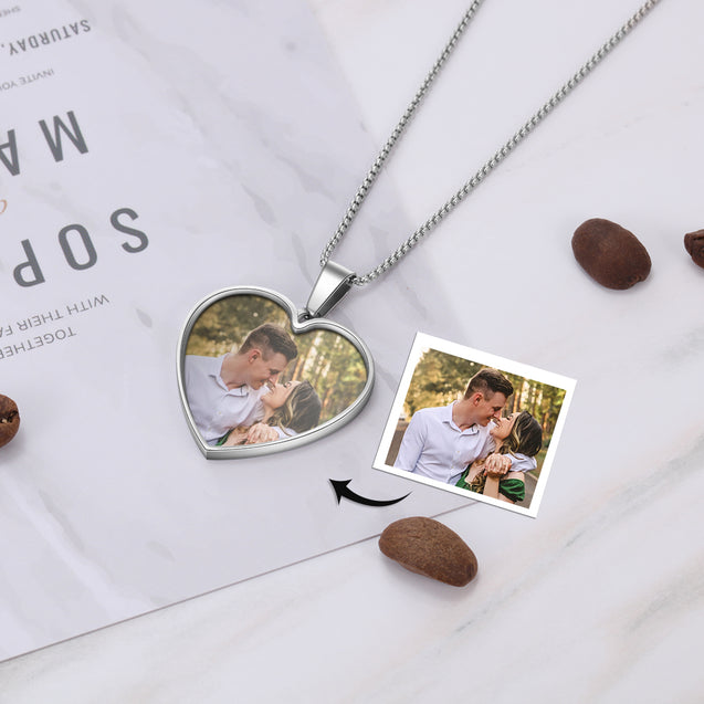 Personalized Photo Necklace Heart Pendant with Engraving Cutsom Gift