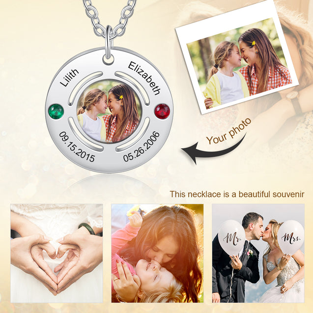 Personalized Photo Necklace With 2 Birthstones Engraved 2 Names