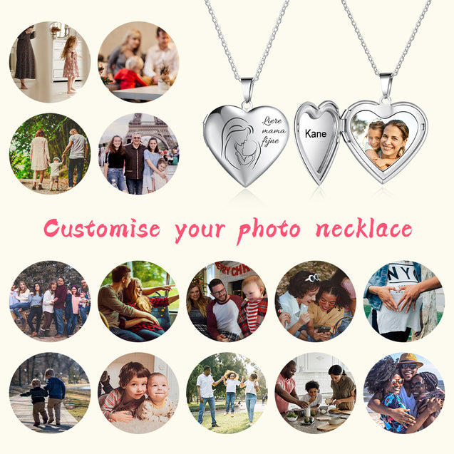 Heart Pendant Photo Locket Necklace Personalized Gift For Mom