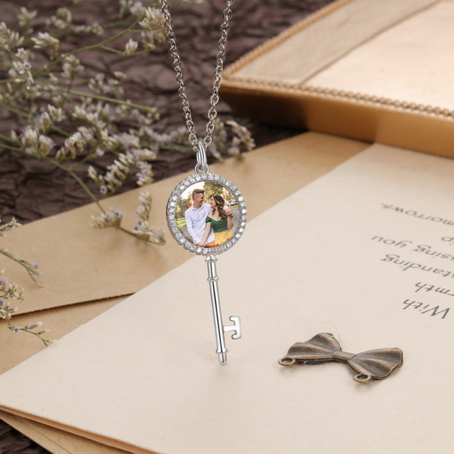 Key Photo Necklace With Engraving Personalized Gift For Her