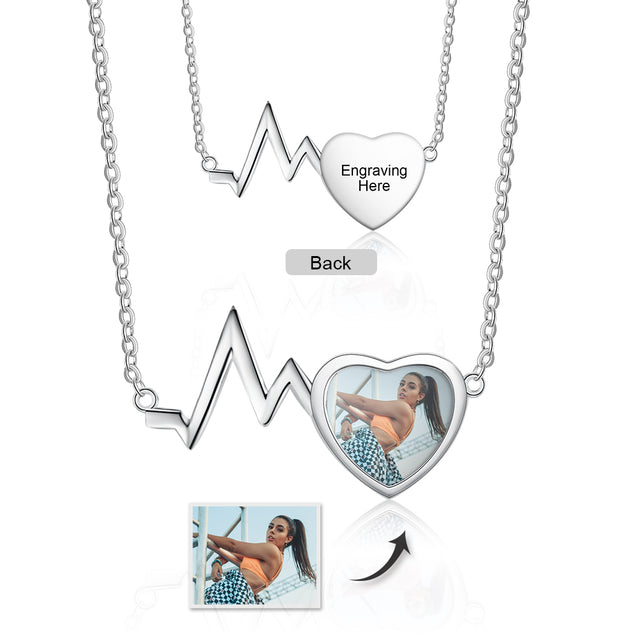 Personalized Heartbeat Photo Necklace With Engraving Custom Gift