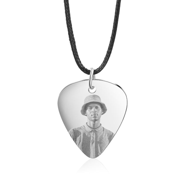 Personalized Photo Guitar Pick Necklace Men Custom Necklace Gift For Him