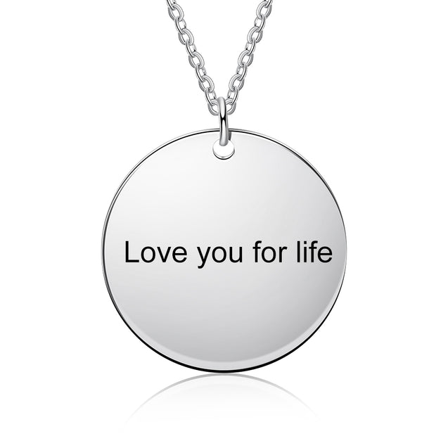 Custom Photo Necklace Round Pendant with Engraving Personalized Gift