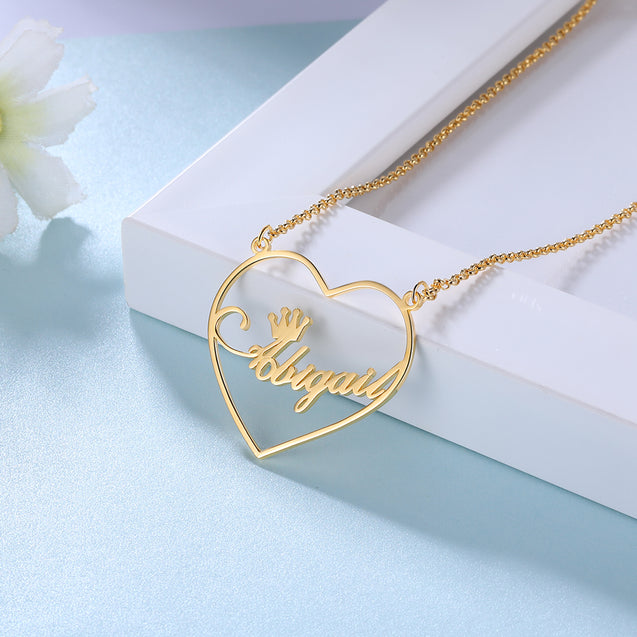 Heart Crown Name Necklace Personalized Name Necklaces