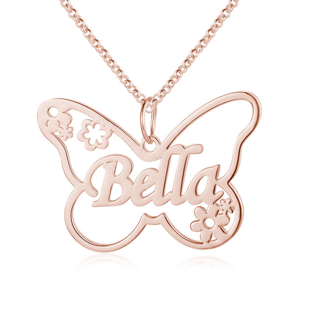 Butterfly Name Necklace Personalized Name Necklaces