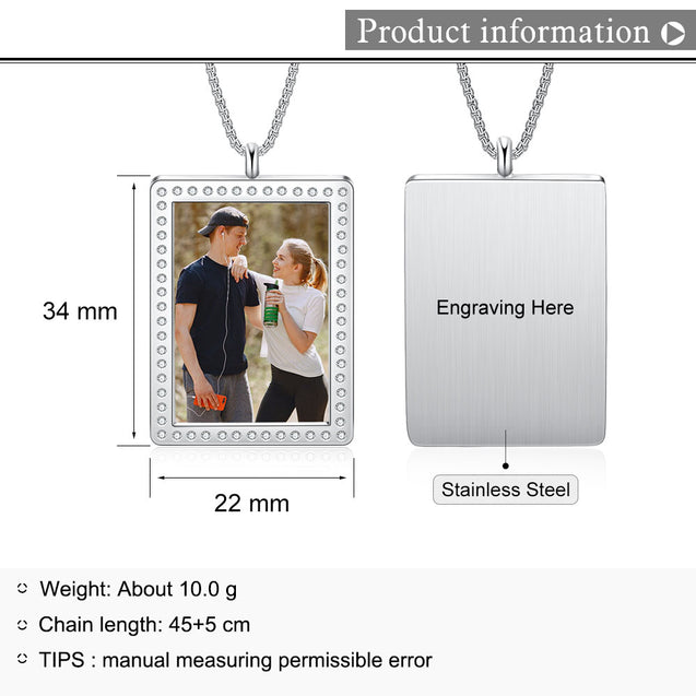 Personalized Photo Necklace Square Pendant With Engraving Gifts