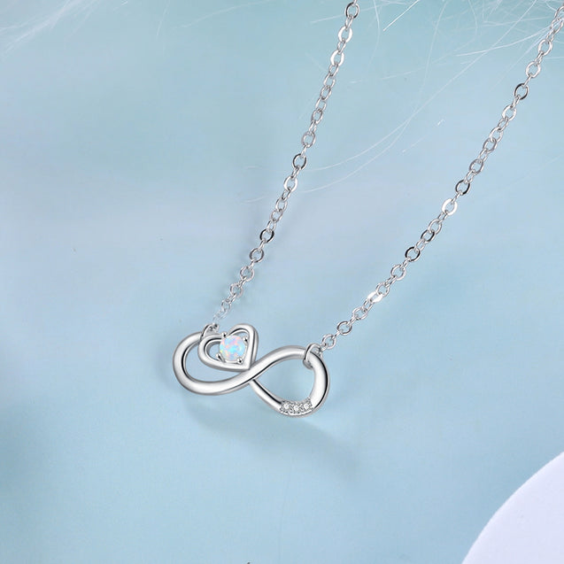 Infinity Opal Necklace with Heart Gifts for Her