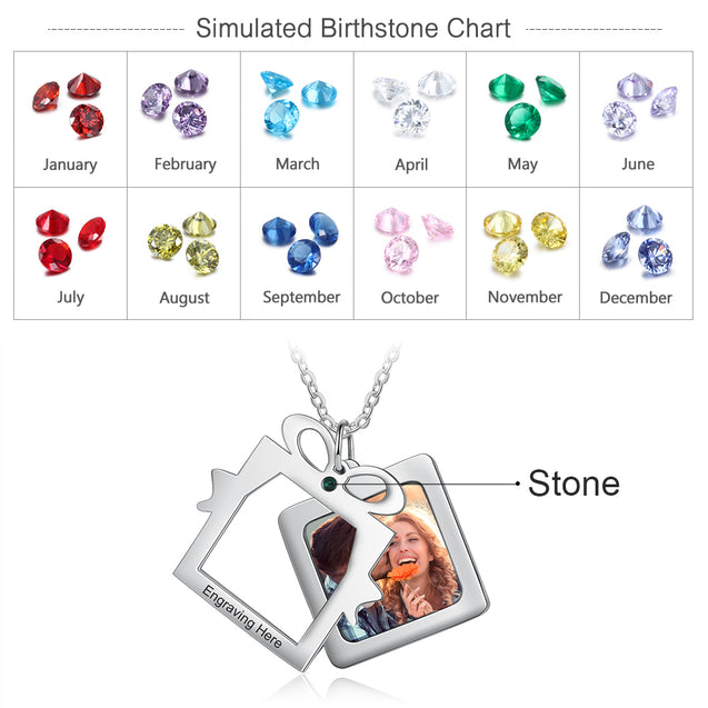 Christmas Custom Photo Tag Necklace with Calendar Personalized Gift
