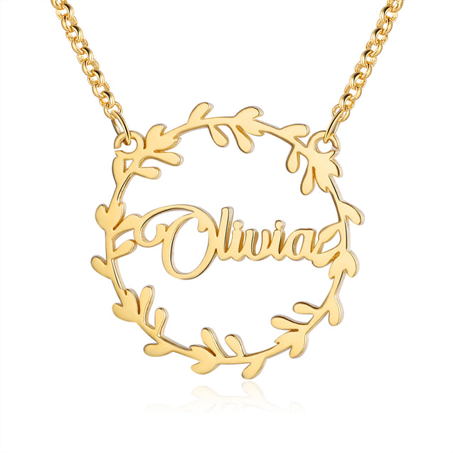 Christmas Wreath Name Necklace Personalized 1-4 Name Necklaces
