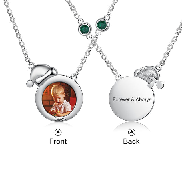 Christmas Photo Personalized Custom Necklace With Engraving