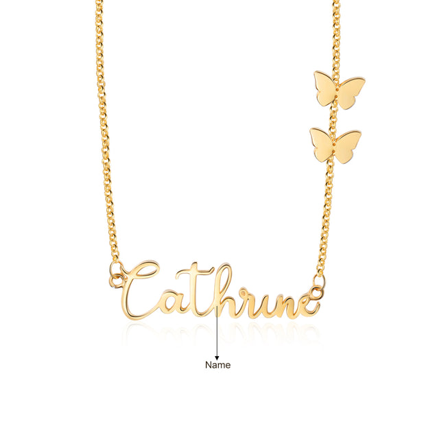 Personalized Name Necklace with Butterfly Cute Gifts