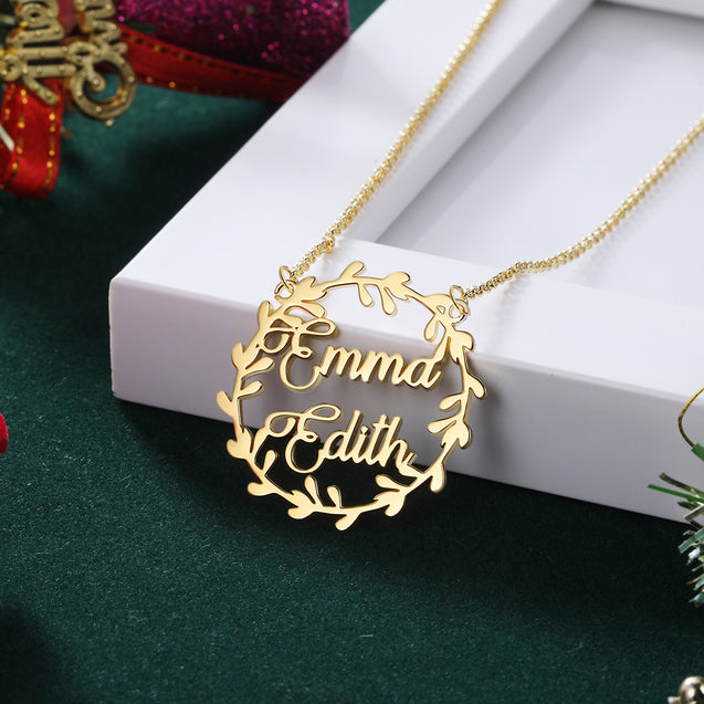 Christmas Wreath Name Necklace Personalized 2 Name Necklaces