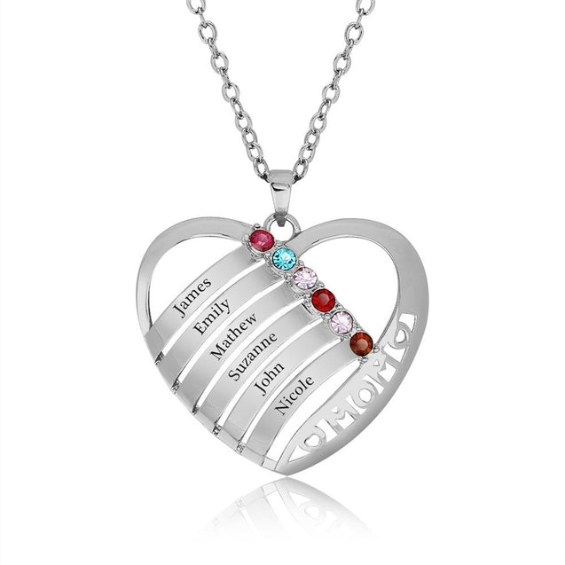 Heart Shape Birthstone Necklace Mother Neckalce 6 Birthstones 6 Names Family Necklace Mother's Day Gift
