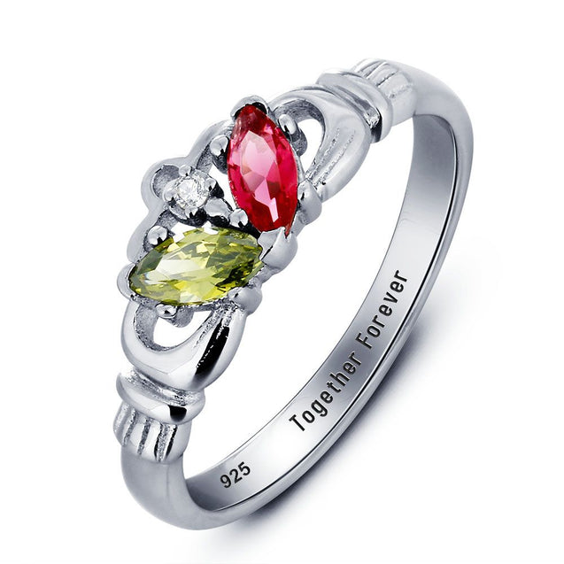 Cladagh Ring Birthstones Silver Ring Crown Love Ring