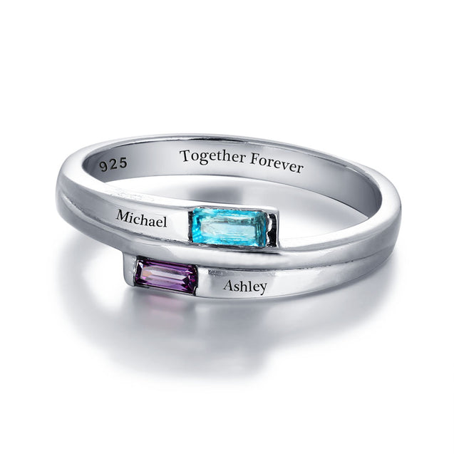 Personalized Promise Ring with 2 Birthstone Engraved 2 Names Birthstone Ring Valentines Day Gift