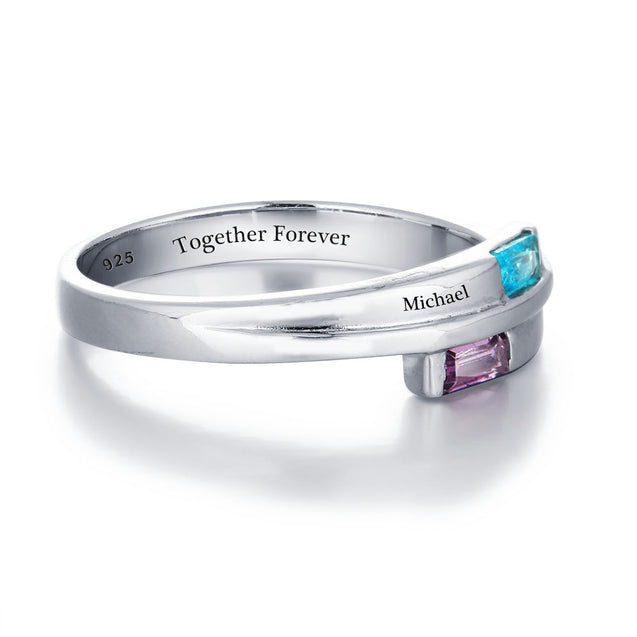 Personalized Promise Ring with 2 Birthstone Engraved 2 Names Birthstone Ring Band Best Valentines Day Gift