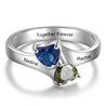 Mother Ring With 2 Stones Engraved 2 Names Promise Rings for Her Personalized Mothers Daughter Ring